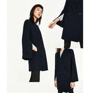 Zara navy blue split sleeve crossover coat blazer